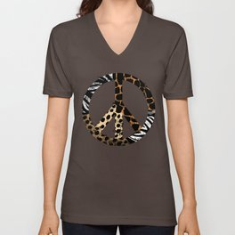 African Animal Pattern Peace Symbol Unisex V-Neck