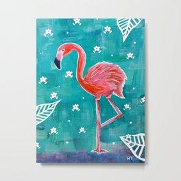 Neon Pink Tropical Flamingo Metal Print