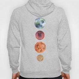 Watercolor planets: Mercury, Mars, Earth, Venus Hoody