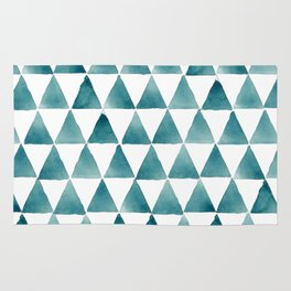 Watercolor turquoise triangles Rug