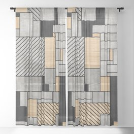 Random Pattern - Concrete and Wood Sheer Curtain