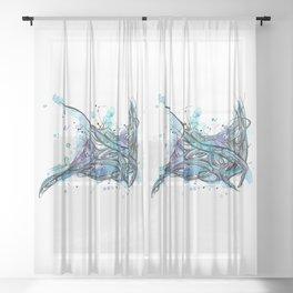 Inked Manta Ray Sheer Curtain