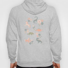Floral Burst of Dinosaurs and Unicorns in Pink + Green Hoody
