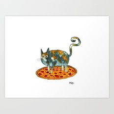 Pepperoni, Black Olives and Cat Art Print