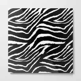 Animal Print Zebra Black and White Metal Print