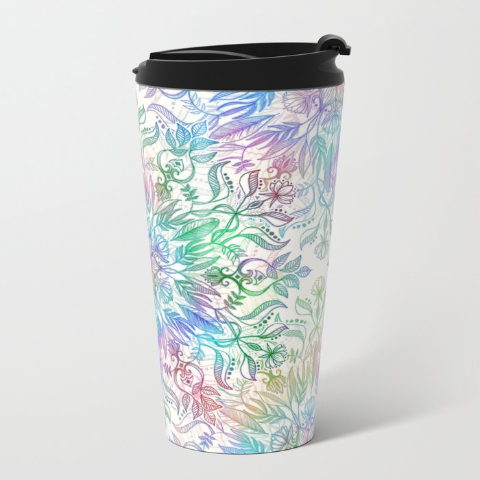 Nature Mandala in Rainbow Hues Metal Travel Mug