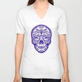 Sugar Skull (Calavera) Chromatic Aberration - Cyan Magenta Unisex V-Neck