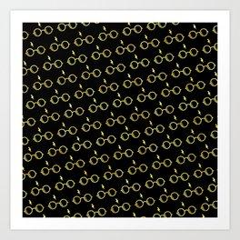 Glasses & Lightning Bolt - Hufflepuff Yellow Art Print
