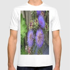 Purple Blooms White Mens Fitted Tee MEDIUM