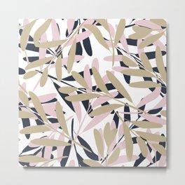 Prints of Leaves, Pink, Navy, Gold, Art Prints Modern Metal Print