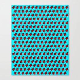 Ladybugs Pattern-Teal Canvas Print