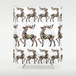 Marbled Black and Rose-Gold Mandala Reindeer Textile Shower Curtain
