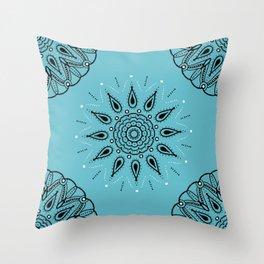 Central Mandala Turquoise Throw Pillow