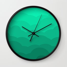 Sage Ombre Clouds Wall Clock
