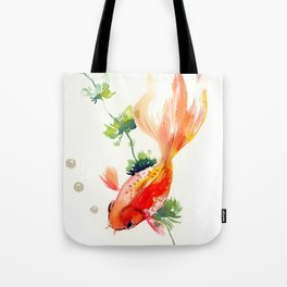 Goldfish, aquarium fish art, design watercolor fish painting Tote Bag