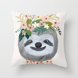 Sloth with flowers on head Throw Pillow