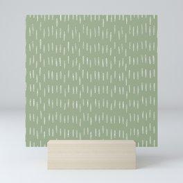 Raindrop Boho Abstract Pattern, Sage Green Mini Art Print