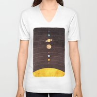 solar system V-neck T-shirts featuring Solar System by Annisa Tiara Utami