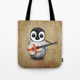 Baby Penguin Playing English Flag Guitar Tote Bag