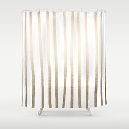 Simply Drawn Vertical Stripes in White Gold Sands Shower Curtain