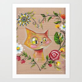 Suspicious Yellow Cat Art Print
