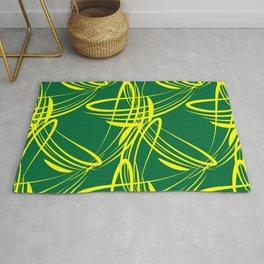 Lemon lines for on a green background. Rug