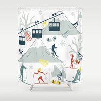 ski Shower Curtains featuring SKI LIFTS by BLUE VELVET DESIGNS