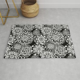 Black and White Mandala Pattern Rug