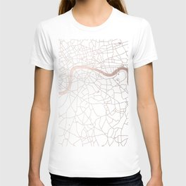 White on Rosegold London Street Map T-shirt