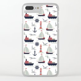 Sailboats and Lighthouse Clear iPhone Case