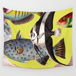 Fish World yellow Wall Tapestry