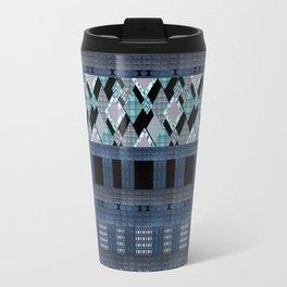 Black blue braided textiles . Travel Mug