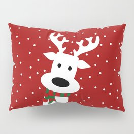 Reindeer in a snowy day (red) Pillow Sham