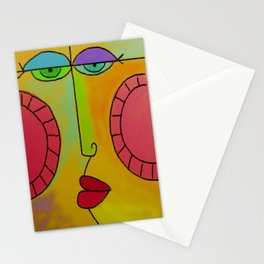 Funky Face Abstract Digital Painting Stationery Cards