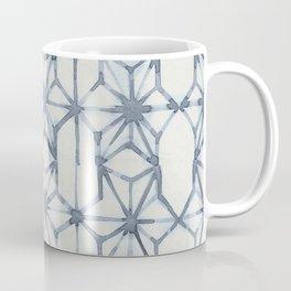 Simply Shibori Stars in Indigo Blue on Lunar Gray Coffee Mug