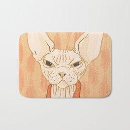 Grumpy Sphynx Cat - Hairless Kitty Illustration Bath Mat