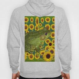 AVOCADO GREEN BOG FROG & YELLOW FLOWERS Hoody