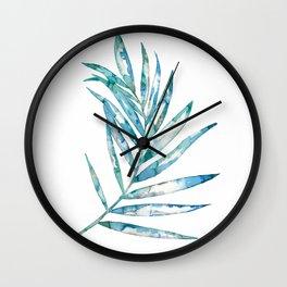 Blue Fern Leaf - Ink Painting - Botanical Wall Clock