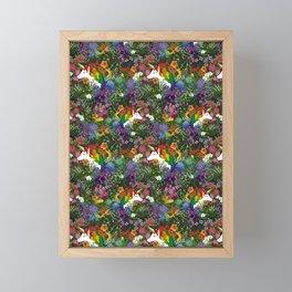 Unicorn in a Rainbow Garden Framed Mini Art Print