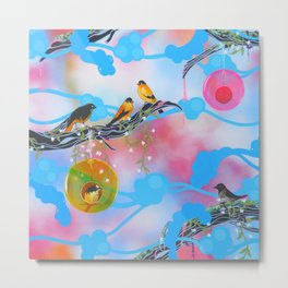 Society Finches Metal Print