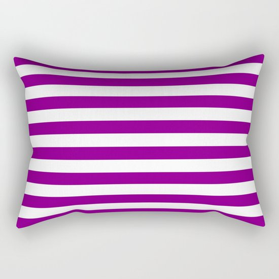 Horizontal Stripes (Purple/White) Rectangular Pillow