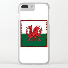 Y Ddraig Goch Grunge Welsh Flag Clear iPhone Case