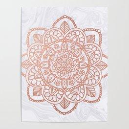 Rose Gold Mandala on White Marble Poster