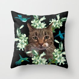 Cat and Hummingbirds 2 Throw Pillow