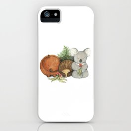Native Australian Animal Babies – With Koala, Wombat And Echidna iPhone Case