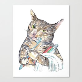 Cat brushing teeth tabby Painting Wall Poster Watercolor Canvas Print