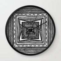 vertigo Wall Clocks featuring Vertigo by Emily Jarvis