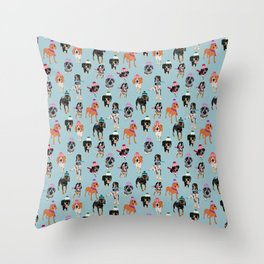 Coonhound in winter hats Throw Pillow