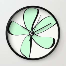 Green Daisy Wall Clock