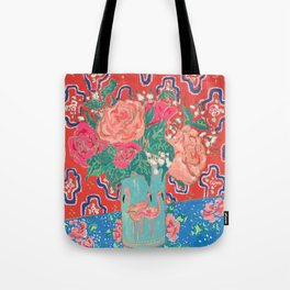 Roses in Enamel Flamingo Vase Tote Bag
